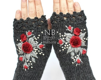 Knitted Fingerless Gloves, Dark Grey, Red, Gray, Roses, Gloves & Mittens, Gift Ideas, For Her, Winter Accessories