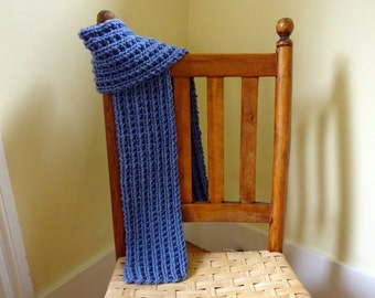 Child's Ribbed Blue Scarf, Boy's Scarf, Scarf for Kids, Reversible Scarf, Gift for Son, Winter Scarf