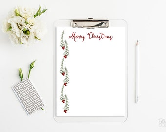 Christmas letter head Printable stationery Merry Christmas Holly Mistletoe letterhead Christmas stationery Instant Download Word PDF