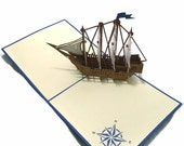 Pirate Ship Popup Greeting Card - Blue White Boat Pop-Up Paper Art - Birthday 3D Card
