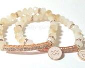 Personalized Zodiac Sign Beaded Bracelet,Rose Gold,Champagne, Beige,Crystal, Charm, Womens Bracelet, Custom, Handmade Beaded Jewelry