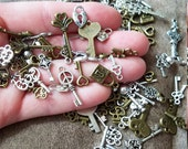 Mixed key and lock charms fast shipping from USA silver keys bronze keys small keys small locks bulk charms mixed charms jewelry charms