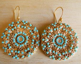 Turquoise Medallion Earrings, Turquoise Earrings, Turquoise Beads, Turquoise and Gold, Blue Earrings, Robin's Egg Blue