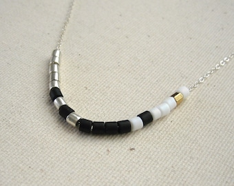 Black and White Color Blocked Sterling Silver Choker Necklace