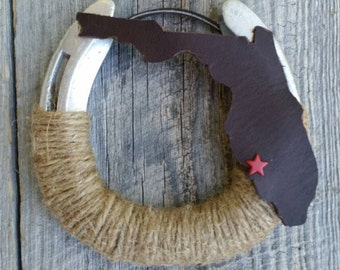 Your State theme Decorated horseshoe, horse shoe decor,  Western Decor Rustic Theme, Equestrian Decor