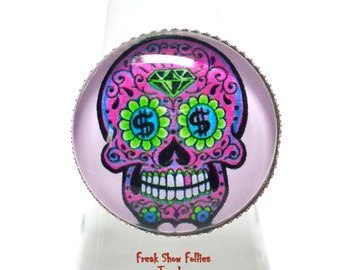 purple day of the dead sugar skull glass ring