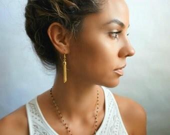 Rosary Pyrite Labradorite Pendant Bohemian Necklace
