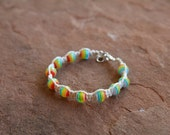Hemp Bracelet - Natural Hemp Jewelry with Rainbow Beads - Rainbow Jewelry - Hippie Jewelry - Pride Bracelets