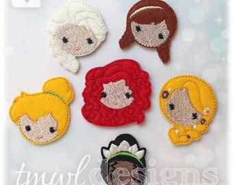 "Emoji Princess Feltie Set B Digital Design Files - 1.75"""