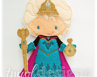 Coronation Dress With Cape Felt Paper Doll Toy Outfit Digital Design File - 5x7