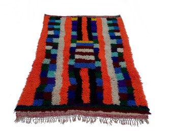 "95""X58"" Vintage Moroccan rug woven by hand from scraps of fabric / boucherouite / boucherouette"