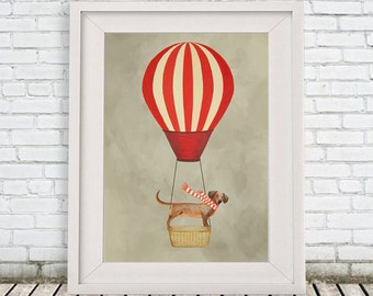 Daschund Print, daschund Illustration Art Poster Acrylic Painting Kids Decor Drawing Gift, Hot Airballoon Print, Dog with airballoon