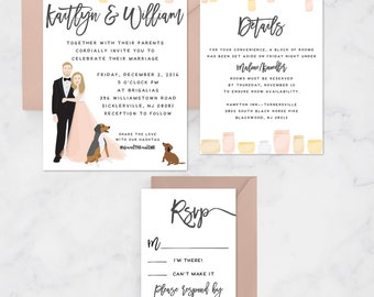 Rustic Wedding Invitation Suite, Custom Wedding Portrait Invitation Set with Mason Jars