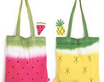 Canvas TOTE BAG - Watermelon Bag - Pineapple Print - Canvas Shoulder Bag - Reusable Shopping Bag - Fruit Print - Summer Bag - Beach Bag