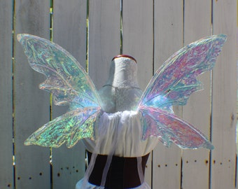Medium size white iridescent 4 Wing Woodland Fairy Wings