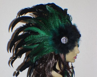Custom Black and green feather headdress with medallions