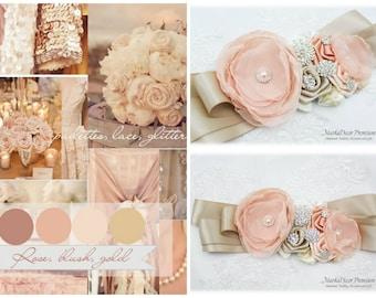 Champagne Sash Blush Bridal Wedding Sash Jeweled Brooch Flower Belt Beaded Sash Custom Belt in Champagne, Blush, Ivory, Peach