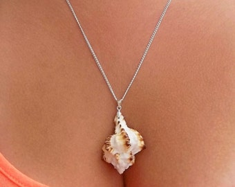 """Real Natural White And Brown Conch Shell Seashell Bohemian Ocean Beach Mermaid Sea Island Simple Silver Pendant Necklace 22"""""""