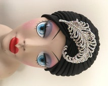 Black Turban With Crystal Feather Vintage Style Brooch