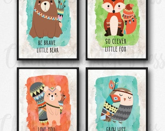 Tribal Animals set of 4 prints, Instant printable, Be clever little fox, Grow wise little owl, Be Brave little bear,  playroom, boho wall