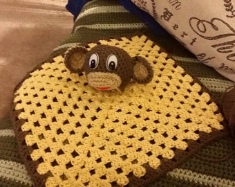 Monkey lovey baby security blanket toy