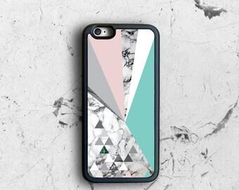 iPhone 6 Case Pastel, Geometric Print iPhone 6s Case Mint Pink, iPhone 6 Plus Case Rubber Sides, Pastel iPhone SE Case