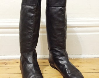 Vintage Black Leather Knee High Boot - 80's - sz. 38.5 - Made in Italy