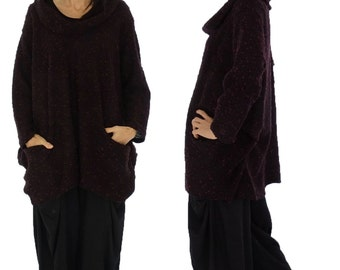 HP600R sweater 80% wool & polyester 20 Gr. 42, 44, 46, 48, 50, 52 Burgundy Boucle plus size layered look