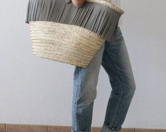 Leather Straw Fringe Bag. Straw Bag. Straw Tote. Raffia Bags. Leather Straw Bag. Large Tote Bag. Leather Raffia Tote. Free Shipping
