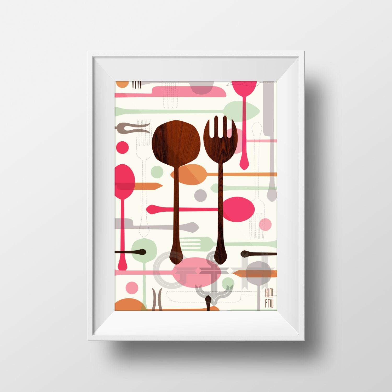 Kitchen Art, Vintage Utensils, Wooden Fork And Spoon, Kitchen Printable,  Wall Print, Fork, Spoon, Kitchen, Art For Kitchens