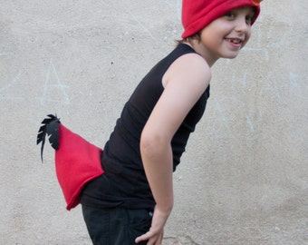 Red Bird Tail with Feathers, Soft Bird Tail, Dress Up, Cosplay, Red and Black