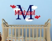 Airplane Decal - Plane Boys Monogram Decal - Boys Nursery Decal - Personalized Name Decal Airplanes - Boy Name Monogram Vinyl Wall Decal