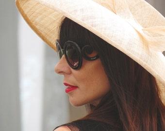 Straw wide brim hat - Beige sinamay straw hat - Classic wide brim hat for her - Royal Ascot straw hat