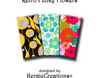 RETRO FUNKY FLOWERS - Digital Collage Sheet 1x2 inch domino images for pendants, rectangle bezel settings, magnets.  Instant Download #207.