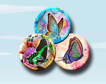 BUTTERFLY SUMMER - Digital Collage Sheet - 1 & 1.5 inch round images for bottle caps, pendants, round bezels, etc.   Instant Download #57.