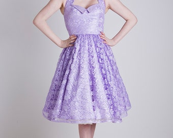 Made to Order, 50s inspired lilac lace halter neck swing dress, with a sweetheart neckline, sizes UK 6-24