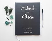 Modern Wedding Guest Book. Wedding Guestbook. Dark Gray Custom Wedding Book. Wedding Keepsake Journal. Wedding Book.