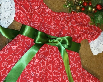 Girls Red Dress/size 2T/Ready to Ship/3 piece/Christmas/Holiday/Baby Girls Clothing/Gingerbread fabric-Emerald Green tie/MYSWEETCHICKAPEA