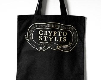 CRYPTOSTYLIS // Logo Black Ouroboros Snake Tote Bag