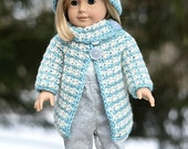 "Crochet Pattern: 18"" Doll Houndstooth Jacket & Cloche, Permission to Sell Finished Items, 10 sizes"