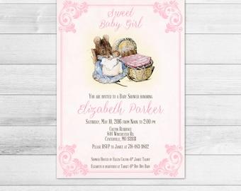 Beatrix Potter Baby Shower Invitation, Pink, Girl, Digital Invite File Hunca Munca