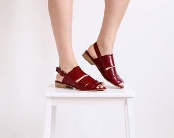 Leather sandals women's burgundy wide slingbacks flats Strips geometric ADIKILAV ON SALE 15%