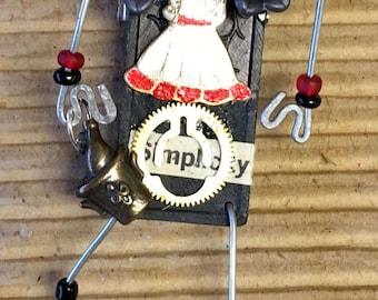 Storyteller Doll Brooch Whimscal Pin Doll 1960s Fashion Hat Art Lapel Art Dress Art Purse Art Coctail Hour Reclaimed Art Salvage Art Domino