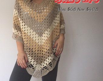 Crochet Handmade Extra Large Poncho, Cream Ecru Shawl, Fall Winter Fashion Accessories