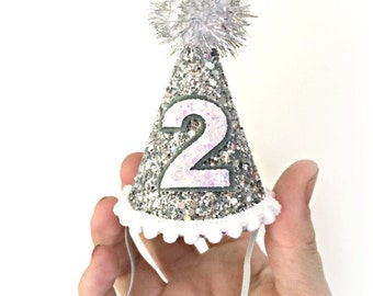 Second Birthday First Birthday Boy Party Hat Girl Party Hat Silver Mini