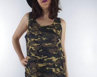 Vintage 90s Camo Print Boxy Mini Tank Dress