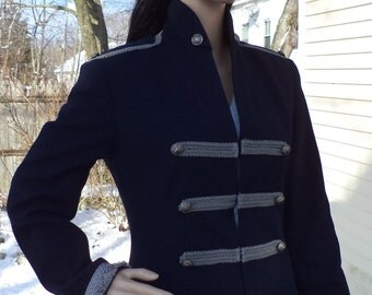 Military Jacket - Navy Blue Blazer - Upcycled Recycled Repurposed Clothing - Size 4