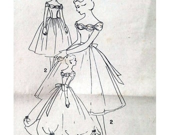 50s Prom dress sewing pattern, Simplicity 1950s dress 1770, Vintage sewing pattern, evening dress, Bust 34 inches