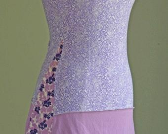 Medium lavender purple upcycled summer dress with lace trim ecofashion repurposed clothing