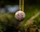 Bubble pendant from colored pencils.